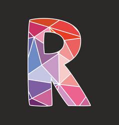 R low poly alphabet letter vector