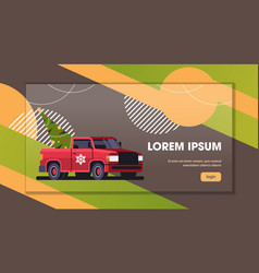 red pickup car with fir tree merry christmas happy vector image