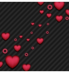 Red pink hearts on black striped background vector