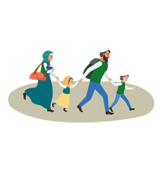 refugee family icon flat style vector image