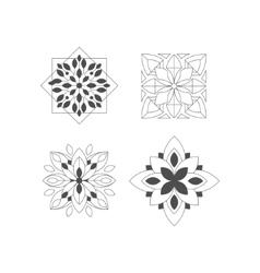 Regular Shape Four Doodle Ornamental Figures In vector image