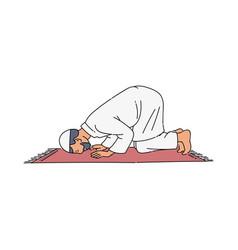 Religious muslim man praying vector