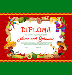 School diploma with cinco de mayo chili peppers vector