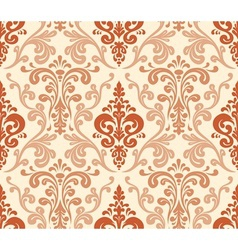 Seamless elegant damask pattern Warm colors vector image