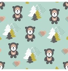 Seamless teddy bear pattern vector