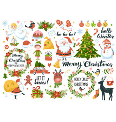 Set christmas and new year element with santa vector
