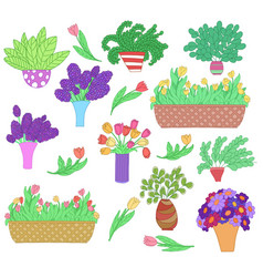 Set of cute cartoon plants in pots and vases vector
