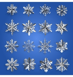Set of silver snowflakes vector image
