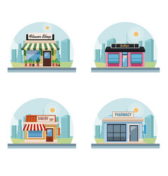 set of stores buildings vector image