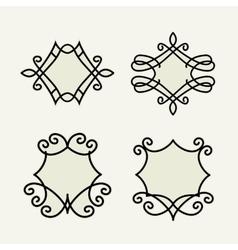 Set of stylish floral monogram vector image