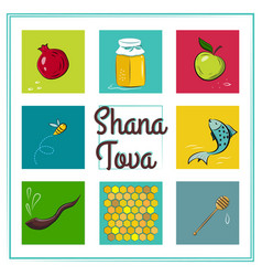 shana tova card icons of rosh hashanah jewish new vector image