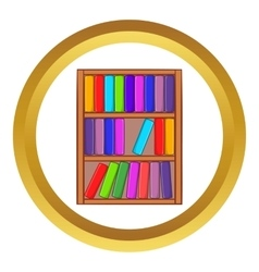 Shelf of books icon vector