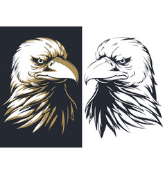 Silhouette bald eagle head isolated logo ma vector
