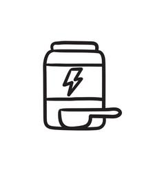 Sport nutrition container sketch icon vector