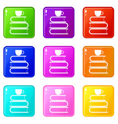 Stack of books and white cup icons 9 set vector
