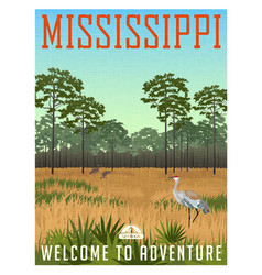 State of mississippi travel poster or sticker vector