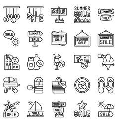 summer sale element icon set line style vector image