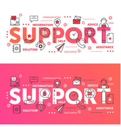Support word set thin line abstract web design vector