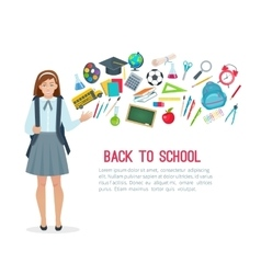 Teen student girl and school supplies vector