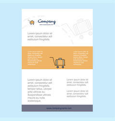 Template layout for luggage cart comany profile vector