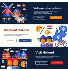 Traveling to Netherlands website headers banners vector