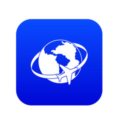 travelling around the world icon digital blue vector image