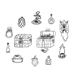 Treasure chest cartoon stickers sketch hoard save vector