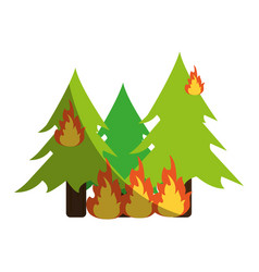 Trees burning in forest vector
