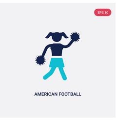 Two color american football cheerleader jump icon vector