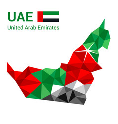 united arab emirates flag map in polygonal vector image