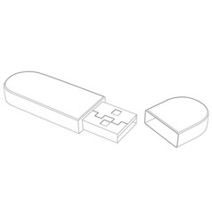 usb flash drive with cap outline drawing vector image