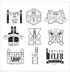 Vape Club Black And White Emblems vector