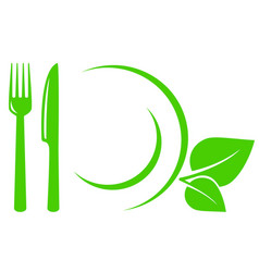 Vegetarian icon with leaves fork and knife vector