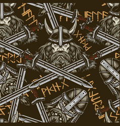 vintage colorful viking seamless pattern vector image