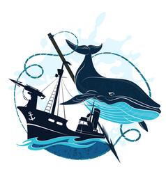 whaler at sea and whale vector image