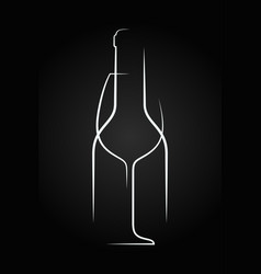 wine glass logo wine bottle on black background vector image