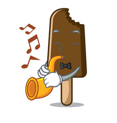 With trumpet chocolate ice cream mascot cartoon vector