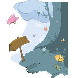 Wood landscape and butterflies vector image