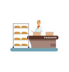 Worker packing freshly baked bread in boxes stage vector