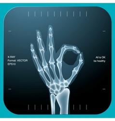 X-ray both human hand - ok symbol vector