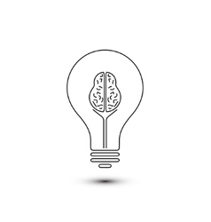 Abstract outline brain light bulb vector image