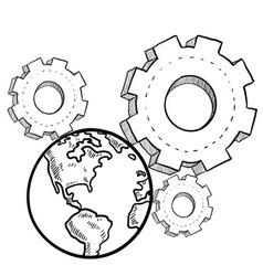 doodle gears earth vector image vector image