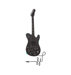 flat black electric guitar icon isolated vector image