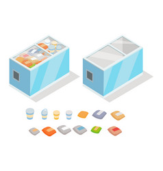 frozen products in store fridge isometric vector image