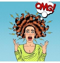 Pop Art Aggressive Furious Screaming Woman vector image vector image