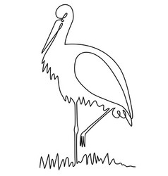 stork one line drawing vector image