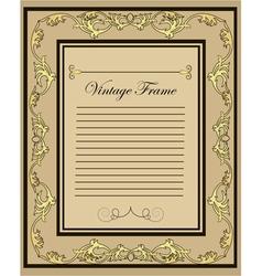 vintage frame gold ornament vector image vector image