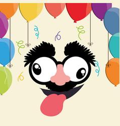 Crazy face balloons fools day vector