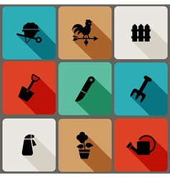 Flat icons set with long shadows vector image