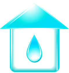 house and glossy water drop vector image vector image